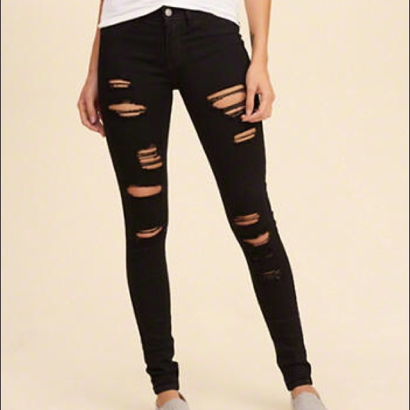 Hollister Jeans | Black Ripped | Poshmark